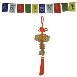 Divya Mantra Car Decoration Rear View Mirror Hanging Accessories Feng Shui Coins Bell and and Tibetan Buddhist Prayer Flags for Car - Divya Mantra