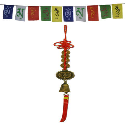 Divya Mantra Tassel Chinese Knot With Three Coins Surya Bell decor and Tibetan Buddhist Prayer Flags Car Hanging Accessories