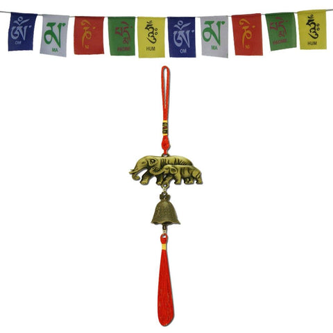 Divya Mantra Car Decoration Rear View Mirror Hanging Accessories Feng Shui Elephant Bell and and Tibetan Buddhist Prayer Flags for Car - Divya Mantra