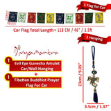 Divya Mantra Car Decoration Rear View Mirror Hanging Accessories Evil Eye Ganesha Head and and Tibetan Buddhist Prayer Flags for Car - Divya Mantra