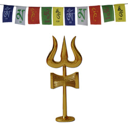 Divya Mantra Traditional Trishul (Trident) Damru with Stand Brass Statue For Car Dashboard / Puja Ghar and and Tibetan Buddhist Prayer Flags for Car - Divya Mantra