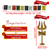 Divya Mantra Traditional Trishul (Trident) Damru with Stand Brass Statue For Car Dashboard / Puja Ghar and and Tibetan Buddhist Prayer Flags for Car