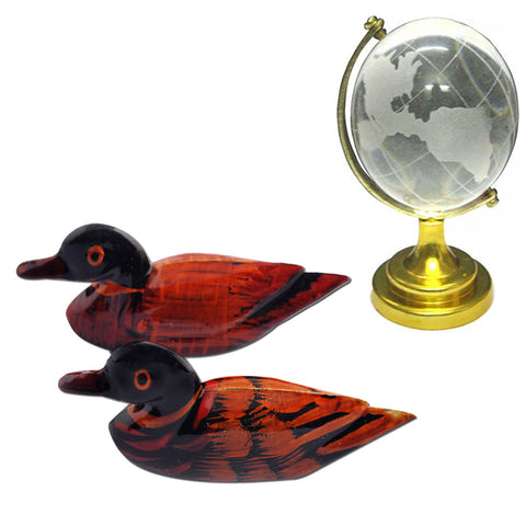 Divya Mantra Feng Shui Wooden Pair Of Mandarin Ducks For Love Luck and and Feng Shui Crystal Globe for Success