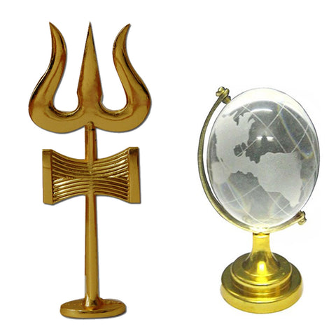 Divya Mantra Traditional Trishul (Trident) Damru with Stand Brass Statue For Car Dashboard / Puja Ghar and and Feng Shui Crystal Globe for Success