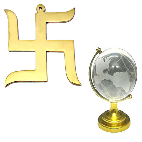 Divya Mantra Hindu Lucky Symbol Swastik Pure Brass Wall Hanging For Vastu and Good Luck and and Feng Shui Crystal Globe for Success