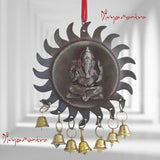 Divya Mantra Amulet for Car Rear View Mirror Decor Ornament Accessories/Good Luck Charm Vastu Ganesha with Bells Interior Wall Hanging Showpiece - Brown, Set of 2 - Divya Mantra