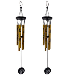 Divya Mantra Feng Shui Om 5 Metal Pipe Wind Chime Good Luck Charm for Positive Energy - Golden, Set of 2 - Divya Mantra