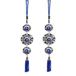 Divya Mantra Decorative Evil Eye Pendant Amulet for Car Rear View Mirror Decor Ornament Accessories/Good Luck Charm Protection Interior Wall Hanging Showpiece - Blue, Set of 2 - Divya Mantra
