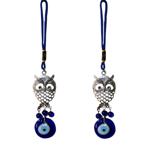 Divya Mantra Decorative Evil Eye Owl Pendant Amulet for Car Rear View Mirror Decor Ornament Accessories/Good Luck Charm Protection Interior Wall Hanging Showpiece Set of 2 Blue - Divya Mantra
