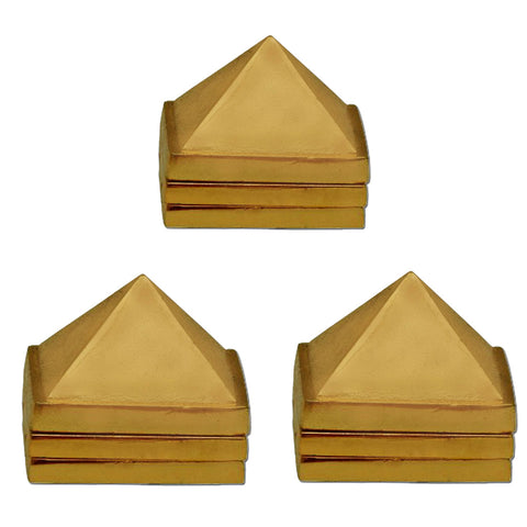 Divya Mantra Vastu Wish Multilayered 1 Inch Zinc Pyramid having 91 Pyramids in Total - Golden, Set of 3 - Divya Mantra