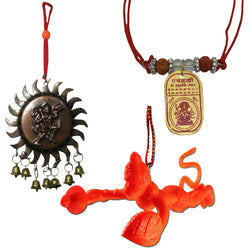 Divya Mantra Sri Panchamukhi Hanuman Kawach Yantra Locket, Vastu Hanuman with Bells and Orange Flying Hanuman Car Mirror Hanging Decoration Accessories Combo Set