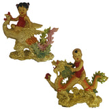 Divya Mantra Feng Shui Baby Boy Riding Dragon Gasping Ball and Baby Girl Riding Celestial Pheonix Dragon Good Luck Symbol Prosperity Career Success Love Luck