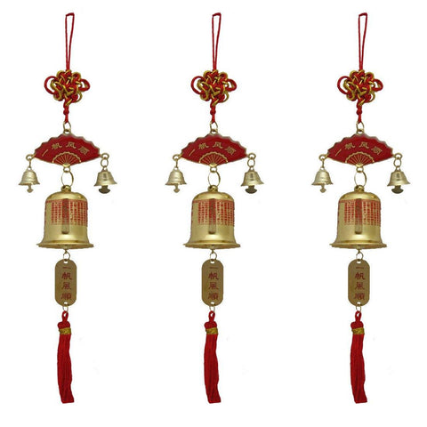 Divya Mantra Car Decoration Rear View Mirror Hanging Accessories Tibetan Feng Shui Bell in Yellow Set of 3 - Divya Mantra