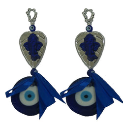 Divya Mantra Decorative Evil Eye Sri Ganesha Pendant Amulet for Car Rear View Mirror Decor Ornament Accessories/Good Luck Charm Protection Interior Wall Hanging Showpiece Set of 2 - Divya Mantra