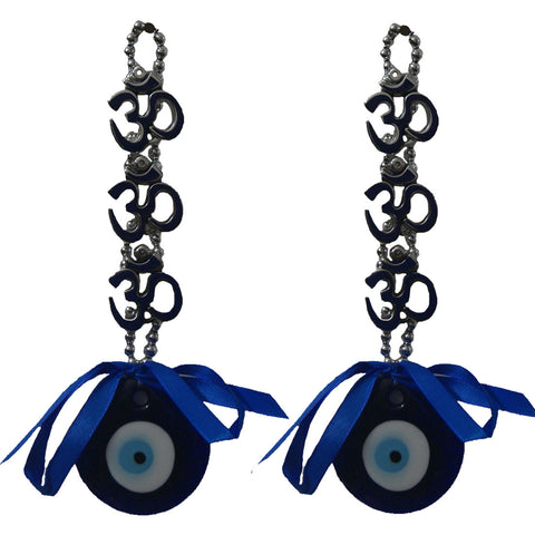 Divya Mantra Decorative Evil Eye Triple Om Pendant Amulet for Car Rear View Mirror Decor Ornament Accessories/Good Luck Charm Protection Interior Wall Hanging Showpiece Blue - Set of 2 - Divya Mantra
