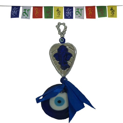 Divya Mantra Decorative Evil Eye Sri Ganesha Pendant Amulet for Car Rear View Mirror Decor Ornament Accessories/Good Luck Charm Protection Interior and Tibetan Buddhist Prayer Flags For Car / Motorbike - Divya Mantra