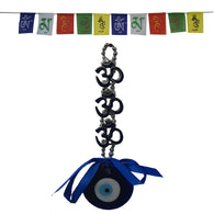 Divya Mantra Decorative Evil Eye Triple Om Pendant Amulet for Car Rear View Mirror Decor Ornament Accessories/Good Luck Charm Protection Interior and Tibetan Buddhist Prayer Flags For Car / Motorbike - Divya Mantra