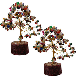 Divya Mantra Feng Shui Natural Multicolor Healing Gemstone Crystal Bonsai Fortune Tree for Good Luck, Wealth & Prosperity Set of 2 - Divya Mantra
