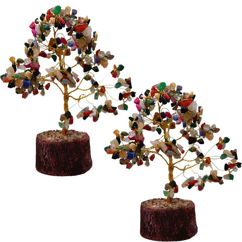 Divya Mantra Feng Shui Natural Multicolor Healing Gemstone Crystal Bonsai Fortune Tree for Good Luck, Wealth & Prosperity Set of 2