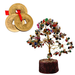 Divya Mantra Feng Shui Natural Multicolor Healing Gemstone Crystal Bonsai Fortune Tree and Three Lucky Chinese Coins with Red Ribbon for Good Luck, Wealth & Prosperity - Divya Mantra
