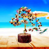 Divya Mantra Feng Shui Natural Multicolor Healing Gemstone Crystal Bonsai Fortune Tree and Crystal Globe for Good Luck, Wealth & Prosperity - Divya Mantra