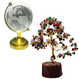Divya Mantra Feng Shui Natural Multicolor Healing Gemstone Crystal Bonsai Fortune Tree and Crystal Globe for Good Luck, Wealth & Prosperity