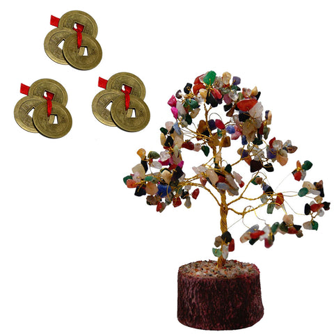 Divya Mantra Feng Shui Natural Multicolor Healing Gemstone Crystal Bonsai Fortune Tree and Set of 3 Three Lucky Chinese Coins with Red Ribbon for Good Luck, Wealth & Prosperity - Divya Mantra