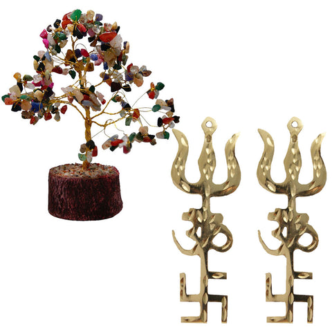 Divya Mantra Feng Shui Natural Multicolor Healing Gemstone Crystal Bonsai Fortune Tree and Trishul Om Swastika Yantra Spiritual Metal Wall Hanging Showpiece Ornament/Hindu Religious for Good Luck, Wealth & Prosperity