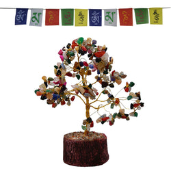 Divya Mantra Feng Shui Natural Multicolor Healing Gemstone Crystal Bonsai Fortune Tree for Good Luck, Wealth & Prosperity and Tibetan Buddhist Prayer Flags For Car / Motorbike