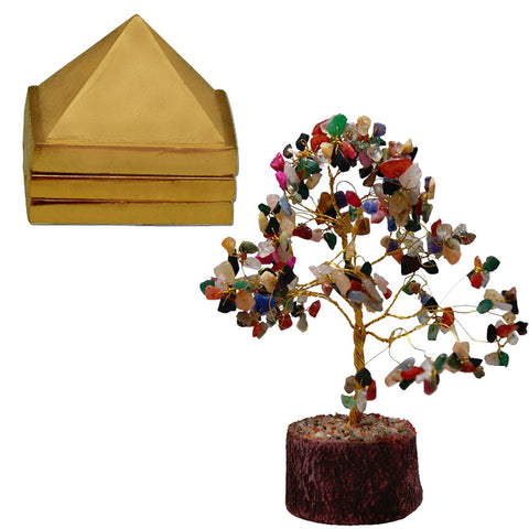 Divya Mantra Feng Shui Natural Multicolor Healing Gemstone Crystal Bonsai Fortune Tree and Vastu Wish Multilayered 1 Inch Zinc Pyramid (Set Of 3) 91 Pyramids in Total