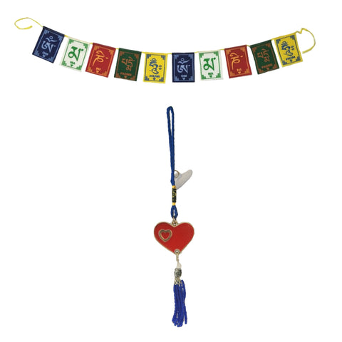 Divya Mantra Decorative Evil Eye Red Heart Pendant Amulet for Car Rear View Mirror Decor Ornament Accessories/Good Luck Charm Protection Interior Wall Hanging Showpiece and Premium Quality Tibetan Buddhist Prayer Flags For Car / Motorbike