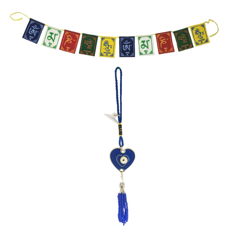 Divya Mantra Evil Eye Blue Heart Pendant Amulet for Car Rear View Mirror Decor Ornament Accessories/Good Luck Charm Protection Interior Wall Hanging Showpiece &Tibetan Buddhist Prayer Flags Car/Bike - Divya Mantra