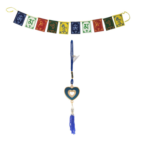 Divya Mantra Decorative Evil Eye Blue Space Pendant Amulet for Car Rear View Mirror Decor Ornament Accessories/Good Luck Charm Protection Interior Wall Hanging Showpiece and Premium Quality Tibetan Buddhist Prayer Flags For Car / Motorbike - Divya Mantra