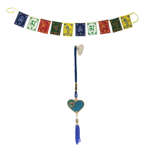 Divya Mantra Decorative Evil Eye Blue Heart Beat Pendant Amulet for Car Rear View Mirror Decor Ornament Accessories/Good Luck Charm Protection Interior Wall Hanging Showpiece and Premium Quality Tibetan Buddhist Prayer Flags For Car / Motorbike - Divya Mantra