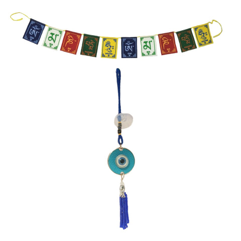 Divya Mantra Decorative Evil Eye Twilight Pendant Amulet for Car Rear View Mirror Decor Ornament Accessories/Good Luck Charm Protection Interior Wall Hanging Showpiece and Premium Quality Tibetan Buddhist Prayer Flags For Car / Motorbike - Divya Mantra