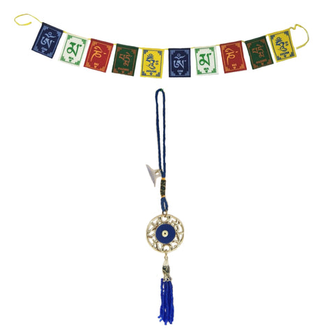 Divya Mantra Evil Eye Round Net Pendant Amulet for Car Rear View Mirror Decor Ornament Accessories/Good Luck Charm Protection Interior Wall Hanging Showpiece &Tibetan Buddhist Prayer Flags Car/Bike - Divya Mantra