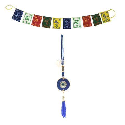 Divya Mantra Decorative Evil Eye Round Ring Pendant Amulet for Car Rear View Mirror Decor Ornament Accessories/Good Luck Charm Protection Interior Wall Hanging Showpiece and Premium Quality Tibetan Buddhist Prayer Flags For Car / Motorbike