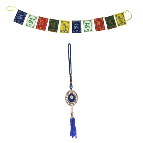 Divya Mantra Evil Eye Oval Net Pendant Amulet for Car Rear View Mirror Decor Ornament Accessories/Good Luck Charm Protection Interior Wall Hanging Showpiece &Tibetan Buddhist Prayer Flags Car/Bike - Divya Mantra