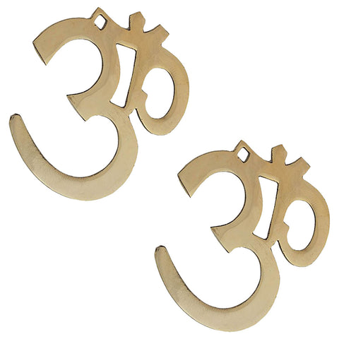 Divya Mantra Hindu Lucky Symbol Om Pure Brass Wall Hangings For Vastu, Yoga and Meditation - Set of 2