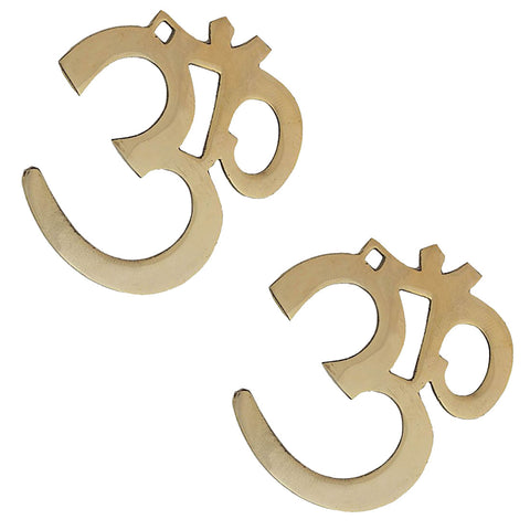 Divya Mantra Hindu Lucky Symbol Om Pure Brass Wall Hangings For Vastu, Yoga and Meditation -Set of 2