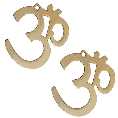 Divya Mantra Hindu Lucky Symbol Om Pure Brass Wall Hangings For Vastu, Yoga and Meditation-Set of 2