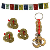 Divya Mantra Tibetan Prayer Flag for Car / Motorbike, Chinese Feng Shui I-Ching Good Luck Coin for Fortune, Success & Prosperity Set of 3 and Om Ganesha with Three Feng Shui I-Ching Coin Keychain Combo Pack