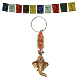Divya Mantra Tibetan Prayer Flag for Car / Motorbike and Sri Ganesha with Three Feng Shui I-Ching Coin Keychain Combo Pack