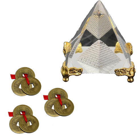 Divya Mantra Feng Shui Crystal Glass 4 cm Pyramid with Golden Stand For Spiritual Healing, Vastu Correction and Balancing and Chinese Antique Fortune Set of 3 Brown I-Ching Coin Ornaments for Good Luck, Success & Prosperity Combo Pack - Divya Mantra