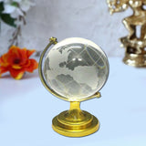 Divya Mantra Feng Shui Globe For Success and Crystal Glass Pyramid with Golden Stand For Spiritual Healing, Vastu Correction and Balancing 4 cm - Combo Pack - Divya Mantra