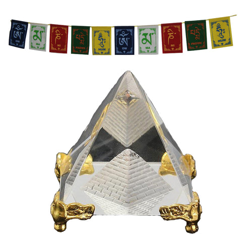 Divya Mantra Feng Shui Crystal Glass Pyramid with Golden Stand For Spiritual Healing, Vastu Correction and Balancing - 4 cm and Premium Quality Tibetan Buddhist Prayer Flags For Car / Motorbike - 3 Feet Multicolor - Divya Mantra