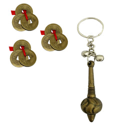 Divya Mantra Sri Bajrang Bali Sankat Mochan Bajrangi Hanuman Gada Keychain and Set of 3 Chinese Feng Shui Antique Fortune I-Ching Coin Ornaments for Good Luck, Success &  & Red Knot - Combo Set - Divya Mantra
