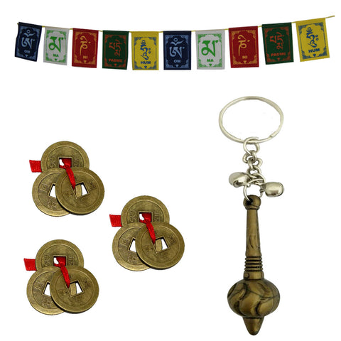 Divya Mantra Sri Bajrang Bali Sankat Mochan Bajrangi Hanuman Gada Keychain, Set of 3 Chinese Feng Shui Antique Fortune I-Ching Coin Ornaments for Good Luck, Success & Prosperity/Ancient 3Feet Prayer Flags For Car / Motorbike- Combo Set - Divya Mantra