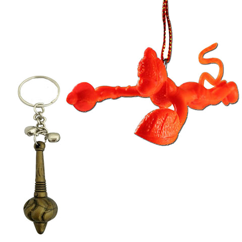 Divya Mantra Sri Bajrang Bali Sankat Mochan Hanuman Gada Keychain and Orange Flying Bajrangi Car Mirror Hanging Decoration Accessories /Good Luck Charm Protection Interior Wall Hanging Showpiece Set