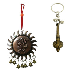 Divya Mantra Sri Bajrang Bali Sankat Mochan Gada Keychain and Vastu Hanuman with Bells Car Mirror Hanging Decoration Accessories /Good Luck Charm Protection Interior Wall Hanging Showpiece Set